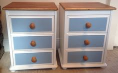 Pair of Painted Pine Bedside drawers white with blue panel on draw fronts.