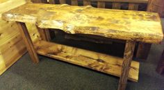 Rustic slab and barn wood sofa table. Love the knotty look!