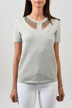 Delicate chain detail adorns the neckline of our Pippa short sleeve pullover elongating your neck and drawing attention to your pretty face. A sweater and accessory rolled into one Pippa is the perfect dressy top to throw on when you are on the run.  Pippa Pullover by One Grey Day. Clothing - Tops - Short Sleeve Toronto Canada