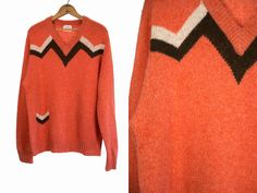 Vintage 1960's Mod Faux Pocket Coral Wool Sweater with Warm Brown and Cream…