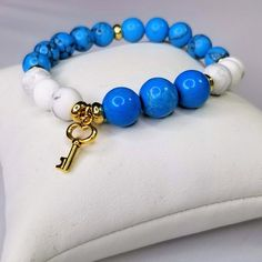 Turquoise & White Howlite Stone Charm Bracelet, Gold Accent Insomnia Bracelet with Anxiety Stones, Turquoise Stone Benefits, Gemstone Bracelets, Gemstone Jewelry, Turquoise Beads, Turquoise Bracelet, Gold Accents, Royal Blue, Stress, Charmed