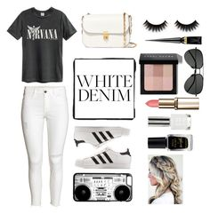 """""""White Denim Demon"""" by tess384 on Polyvore featuring adidas, Valentino, Christian Louboutin, Bobbi Brown Cosmetics, Yves Saint Laurent, Barry M and Topshop"""