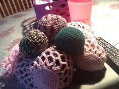 Tre boldnet med hver tre bolde, til dagplejebørnene