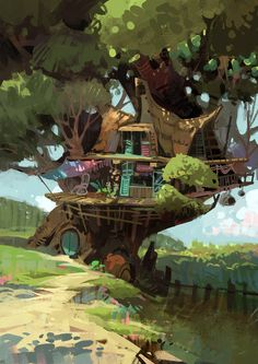 Tree house No.102, Chaichan Artwichai on ArtStation at https://www.artstation.com/artwork/V30DN