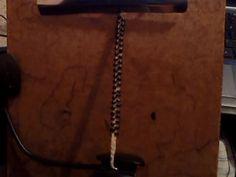 bracelet, standard width, black beads, hemp core