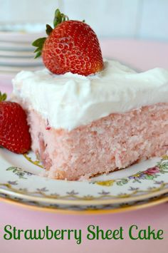 Strawberry Sheet Cake with Lemon Cream Cheese Frosting that is absolutely to die for!!!
