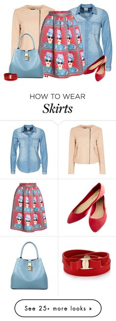 """With Zipper Girl Print Pleated Skirt"" by oxigenio on Polyvore featuring Sportmax, AeraVida, Vero Moda, Wet Seal and Salvatore Ferragamo"