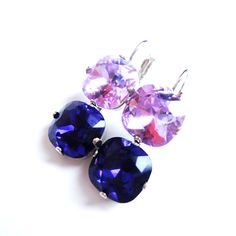 Swarovski Crystal Square Double Square Violet and Purple Velvet Earrings by ParisOhLaLa, $39.99