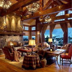 Living room with a mountain view.