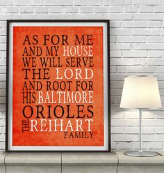 Baltimore Orioles inspired Art Print - CUSTOMIZED and PERSONALIZED