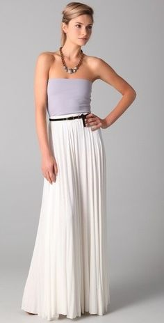 Strapless top with floor length skirt
