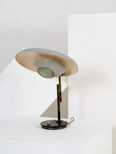 Oscar Torlasco; Enameled Metal, Brass and Glass Table Lamp, 1950s.