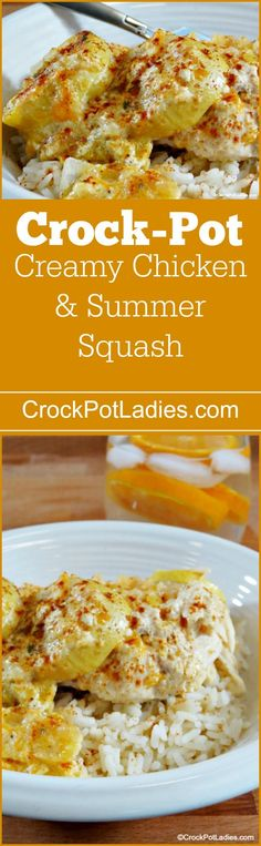 Crock-Pot Creamy Chicken And Summer Squash - Make the most of fresh summer squash with this easy recipe for Slow Cooker Creamy Chicken and Summer Squash. A great dinner for a summer day! via @CrockPotLadies