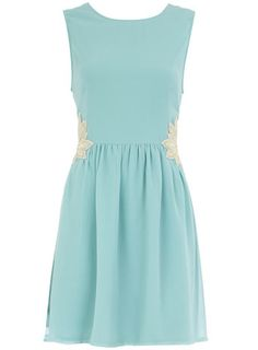 Mint Sleeveless Dress with Embellished Flower Detail