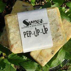 Subplot Soap: Pep-U-Up  peppermint, sage, orange, tea tree, lemon, wintergreen, holy basil, clove, may chang and benzoin resin.