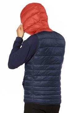New Mens Body Warmer Gilet Hoodie Hooded Contrast Hood Sleeveless Jacket S XXL