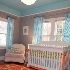 Fun nursery (love the ceiling & patterns)