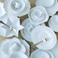One by one I collect this beautiful handmade tableware. Astier de Villatte is made in France and made with such character. I love to set the. Shades Of White, Navy And White, Pure White, The Fisher King, Kings Home, White Dishes, Reception Table, Wedding Table, White China
