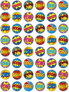 48 Edible Wafer Paper Superhero Retro Pow Zap Comic Book Style Cake Toppers Decorations
