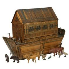 Noah's Ark - Pinewood and Straw, Animals & Figures Carved, Gesso and Paint - Germany - 1810 Antique Toys, Vintage Antiques, Museum Of Childhood, Arte Popular, Victoria And Albert Museum, Wood Toys, Vintage Dolls, Vintage Children, Wood Carving