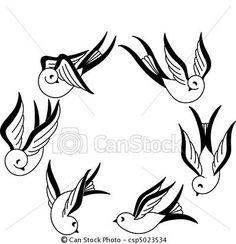 Vector - Hand drawn Songbirds - stock illustration, royalty free illustrations, stock clip art icon, stock clipart icons, logo, line art, EPS picture, pictures, graphic, graphics, drawing, drawings, vector image, artwork, EPS vector art
