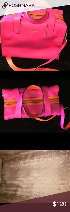 Kate Spade square Handbag leather Fun! Bright pink and orange Kate Spade box style handbag. Outside is is near perfect condition. Inside some stains (see picture).  10 1/4 x 8 x 6 kate spade Bags