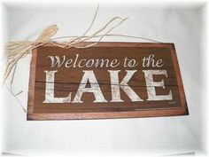 Welcome to The Lake wooden Cabin Sign fishing decor by melimarlatt, $9.99