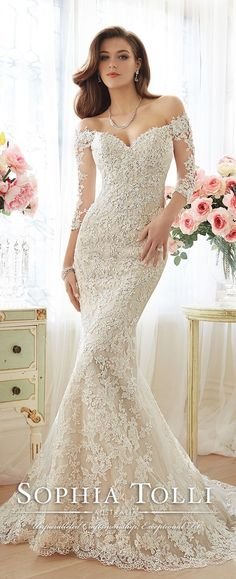 """Sophia Tolli Spring  2016 Lace 3/4 sleeve strapless wedding gown--**EXPLORE an Amazing Collection of  """"Theme Matching Wedding Invitation Sets"""" by Visiting... http://www.zazzle.com/weddinginvitationkit"""