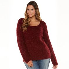 Jennifer Lopez Lurex Eyelash Bow-Back Sweater - Women's Plus Size