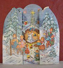 Vintage Fold Out Advent Calendar Western Germany Amag 120 Glitter Angels