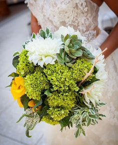 Modern yellow and green bouquet // photo by by Christopher Todd Studios, see more: http://theeverylastdetail.com/beach-chic-modern-yellow-wedding-ideas/