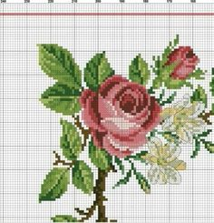 Cross Stitch Rose, Cross Stitch Flowers, Cabbage Roses, Blackwork, Bouquet, Embroidery, Sewing, Canvas, Floral