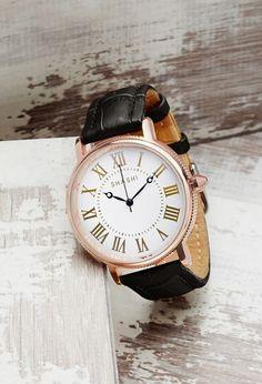 FOREVER 21 Shashi Leather Analog Watch