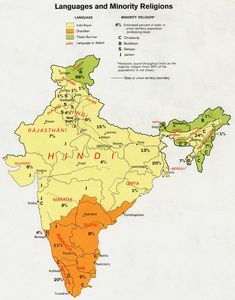 India map of languages and minority religions, 1973.