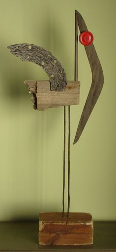 """Saatchi Art is pleased to offer the sculpture, """"sacred ibis,"""" by Oriol Cabrero. Original Sculpture: Mixed Media on Wood, Iron. Size is 0 H x 0 W x 0 in. Mixed Media Sculpture, Wood Sculpture, Metal Garden Art, Metal Art, Scrap Wood Art, Organic Art, Junk Art, Recycled Art, Repurposed"""