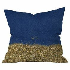 """Navy-hued pillow with a glittering gold bottom stripe by Social Proper for DENY Designs. Made in the USA.  Product: PillowConstruction Material: PolyesterColor: Gold and navyFeatures:  Zippered closureInsert includedDesigned by Social Proper for DENY Designs Dimensions: 18"""" x 18""""Cleaning and Care: Spot clean with window cleaner"""