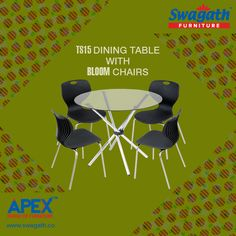 TS15 dining #table with the combination of Bloom #chairs from Swagath's Apex range of #furniture can match any interior decoration of your home!!