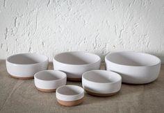 designbinge:  set of six handmade, rusticPetite Stoneware Nesting Bowlsbeing used in the dining room; $74 atLawson-Fenningin LA.