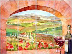 Photo realistic painting of a Tuscan Window reproduced onto ceramic or marble tiles for colorful kitchen backsplash mural idea