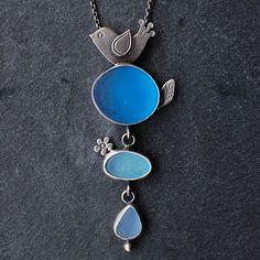 Moonflygirl: Sea Glass Pendant with Bird