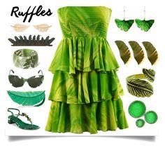 """Green ruffle dress"" by chalsouv ❤ liked on Polyvore featuring Dolce&Gabbana, Kate Spade, Aurélie Bidermann, Varaluz, Emi Jewellery, Jennifer Meyer Jewelry and ruffles"