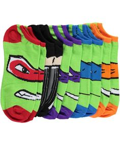 """Teenage Mutant Ninja Turtles Boys' """"Turtle Faces"""" 5-Pack No-Show Socks (Sizes 9 – 11) $5.99 These socks are designed with the TMNT fan in mind! Soft and stretchy, they feature a no-show cut."""