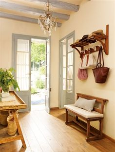 """side door would be where our """"entry is"""" could have separated doors or at least frame to make it feel like a mud room entry before the foyer hall. Sweet Home, Country Interior, House Entrance, Entrance Hall, Interior Decorating, Interior Design, Farmhouse Style, Fresh Farmhouse, Country Style"""