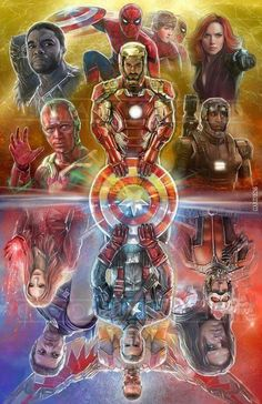 Civil War Captain America / Iron Man Avengers Marvel Comics - Marvel Fan Arts and Memes Marvel Dc Comics, Marvel Avengers, Iron Man Avengers, Marvel Fan, Marvel Memes, Captain Marvel, Poster Superman, Poster Marvel, Spiderman