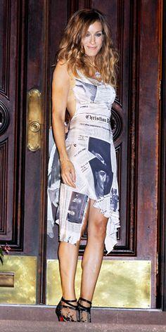 Again, look at this body! John Galliano for Christian Dior newsprint dress. Season 3.