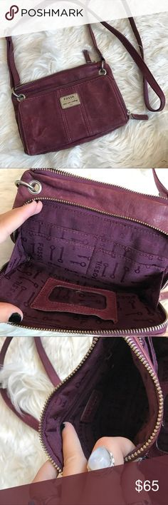 SALE Fossil long live vintage crossbody So cute! Awesome condition. The marks on the leather are intentional to make it look vintage. Open to offers! Built in wallet. Maroon burgundy color Fossil Bags Crossbody Bags