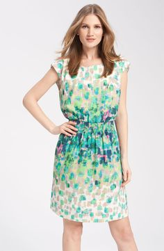 Eliza J Print Smock Waist Crepe de Chine Dress