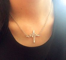 New fashion jewelry The unique design electrocardiogram charm pendant necklace for lovers' mix color N1536(China (Mainland))