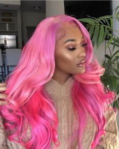 pink weave hairstyles with color full lace wigs for black women Baddie Hairstyles, Boho Hairstyles, Hairstyles Videos, Beautiful Hairstyles, Formal Hairstyles, Ponytail Hairstyles, Wedding Hairstyles, Hairstyles For Round Faces, Hairstyles With Bangs