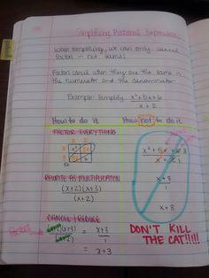 Math = Love: Algebra 2 Interactive Notebook Pages Galore Simplifying Rational Expressions, Math Help, Learn Math, Math Courses, Maths Algebra, School Study Tips, School Ideas, Math Classroom, Teaching Math